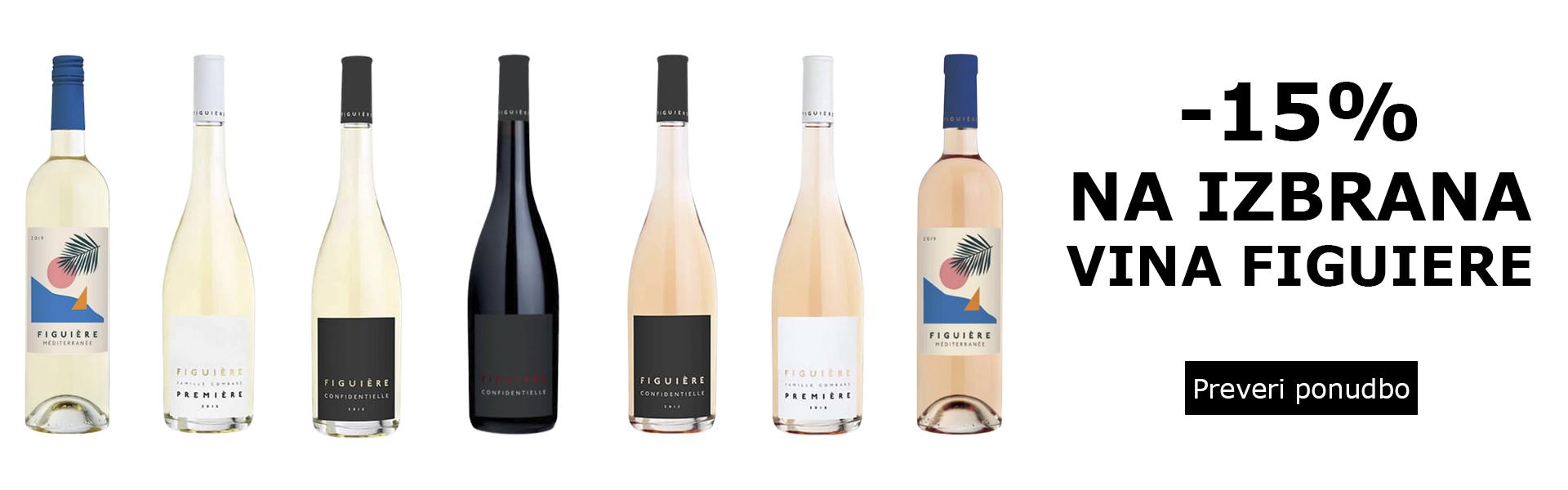 - 15 % na izbrana vina Figuiere